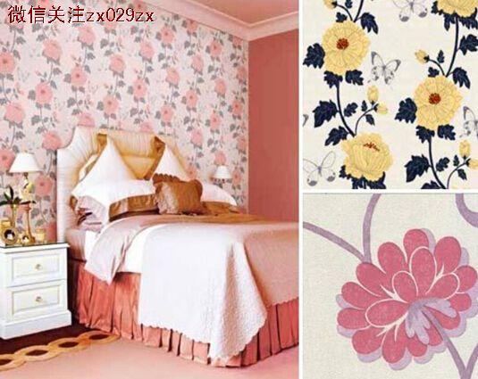 空间欧式复古花纹壁纸配上